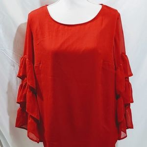 Ava and Viv Ruffle Bell Sleeve Blouse 			Size X